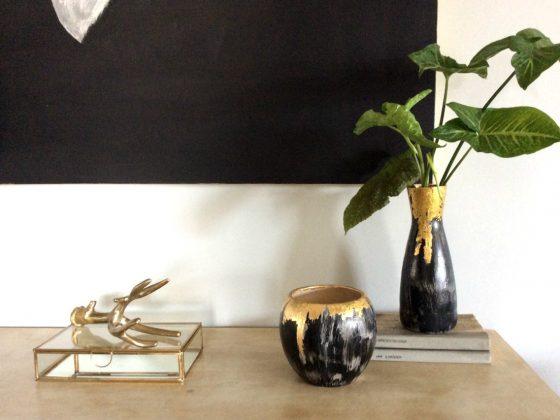 Διακοσμητικά βάζα με φύλλο χρυσού