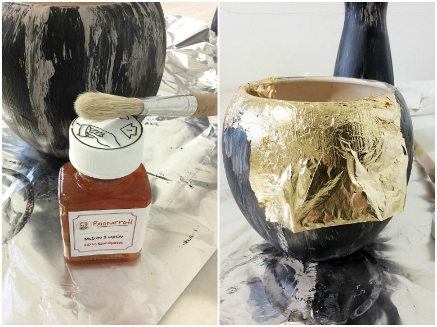 Απλά γυάλινα βάζα μεταμορφώνονται σε διακοσμητικά βάζα με φύλλο χρυσού, βάψιμο με μπογιά κιμωλίας και ακρυλικά χρώματα. Πως εφαρμόζουμε φύλλο χρυσού