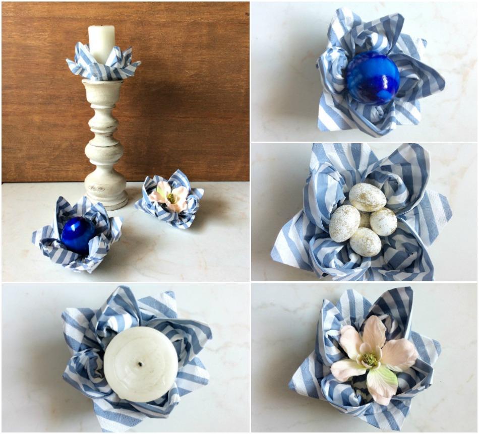 Λουλούδι νούφαρο από χαρτοπετσέτα για το πασχαλινό ανοιξιάτικο τραπέζι
