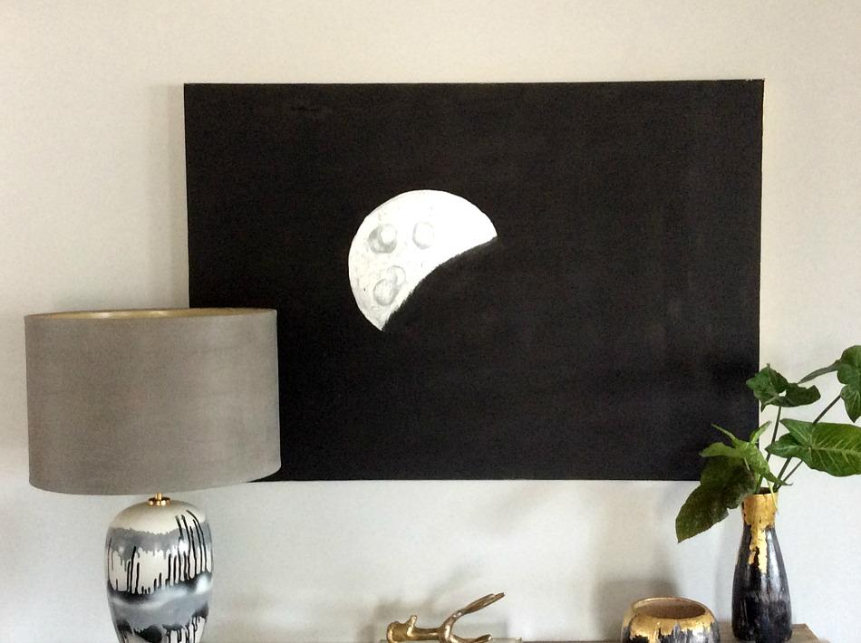 Silver moon on black canvas
