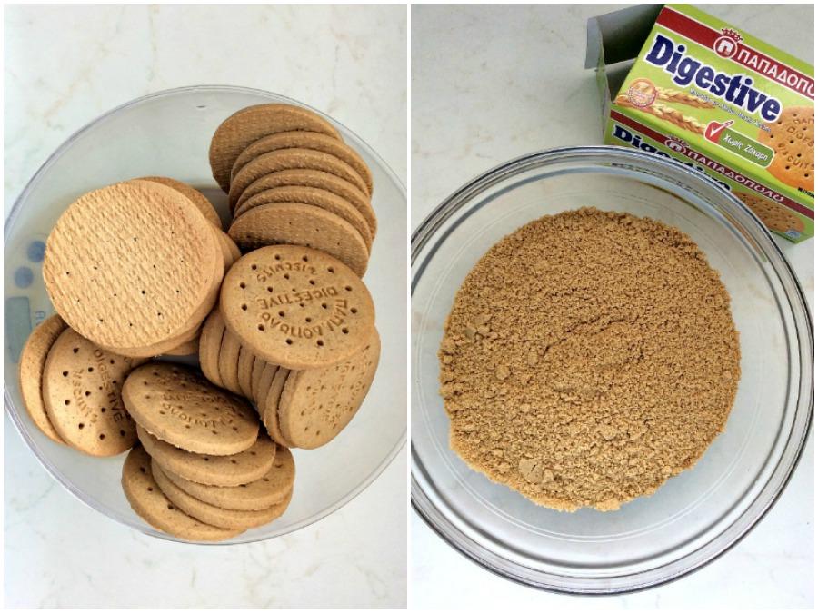 Τριμένα μπισκότα Digestive για την βάση του cheesecake