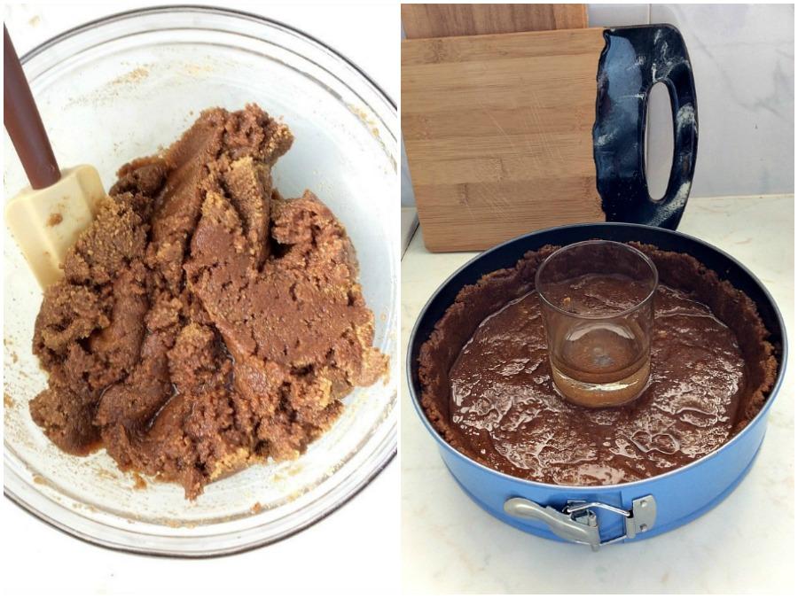 Βάση από τριμένα μπισκότα για σοκολατένιο cheesecake