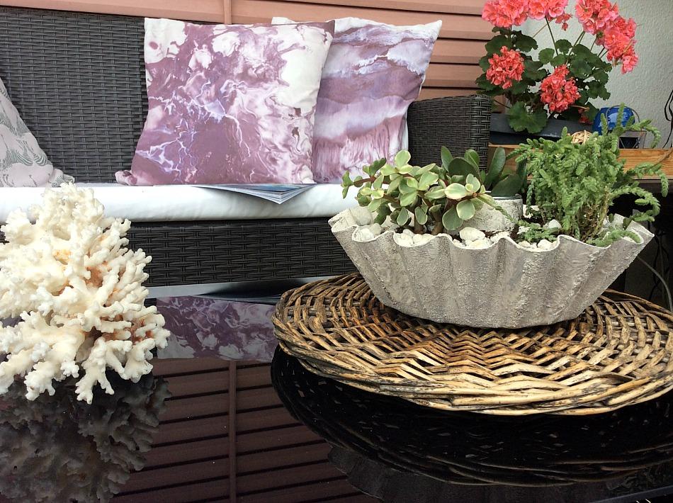 Διακόσμηση βεράντας, κασπό για παχύφυτα, φυσικό κοράλλι