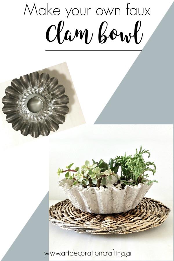 How to make your own faux clam bowl | DIY κασπό αχιβάδα για παχύφυτα