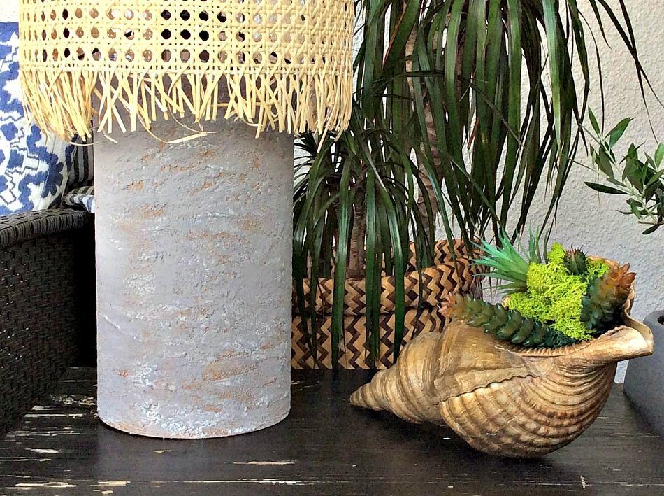 DIY επιτραπέζια λάμπα για την βεράντα, καλοκαιρινή διακόσμηση, κοχύλι με παχύφυτα