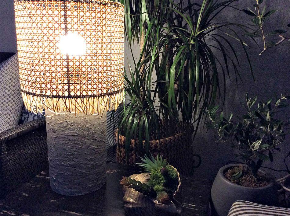 DIY επιτραπέζια λάμπα για την βεράντα, πως φωτίζει το βράδυ, καλοκαιρινή διακόσμηση