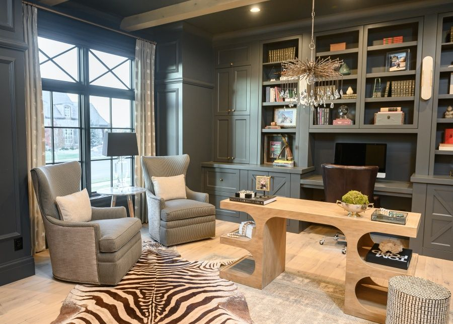 Globally inspired home office, black walls
