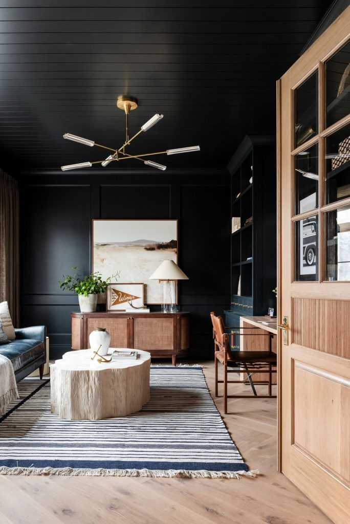 Studio mcgee home office, black wall and ceiling