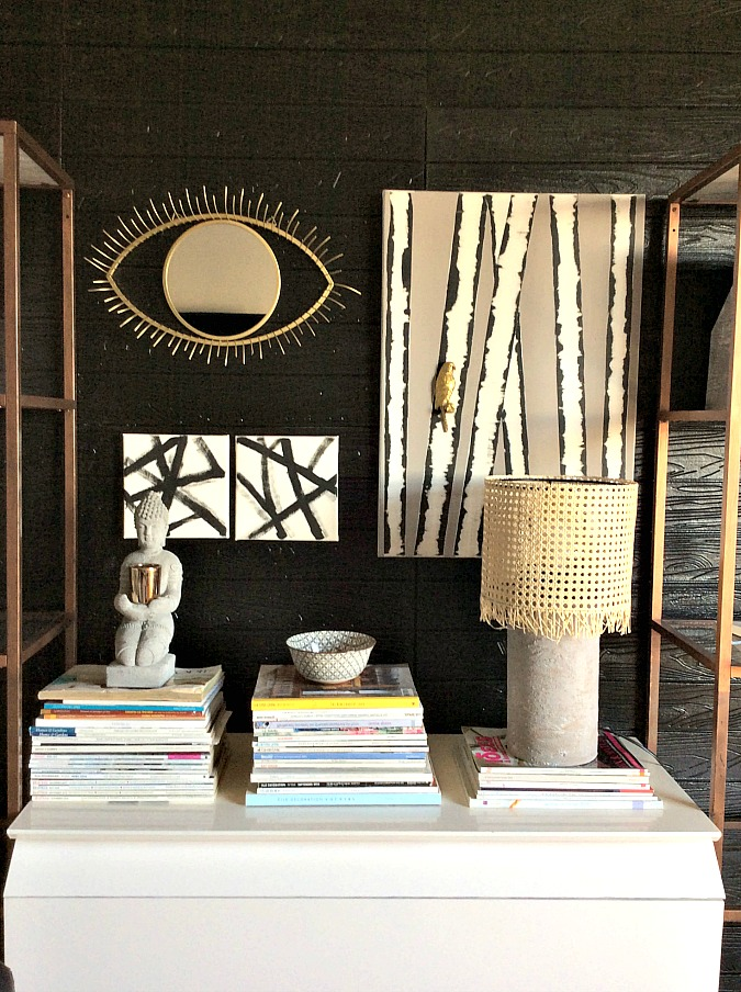 Gallery wall idea with canvas and mirror