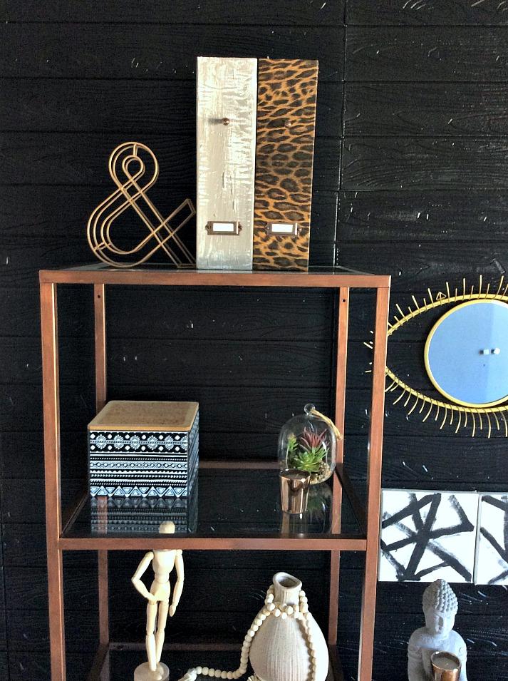 Ikea vitsjo selves, black wall, faux cement magazine files, leopard print magazine file, 4 easy diy ideas