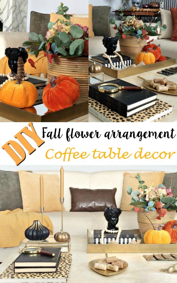 DIY fall flower arrangement, coffee table decor | DIY φθινοπωρινή σύνθεση λουλουδιών, διακόσμηση τραπεζιού