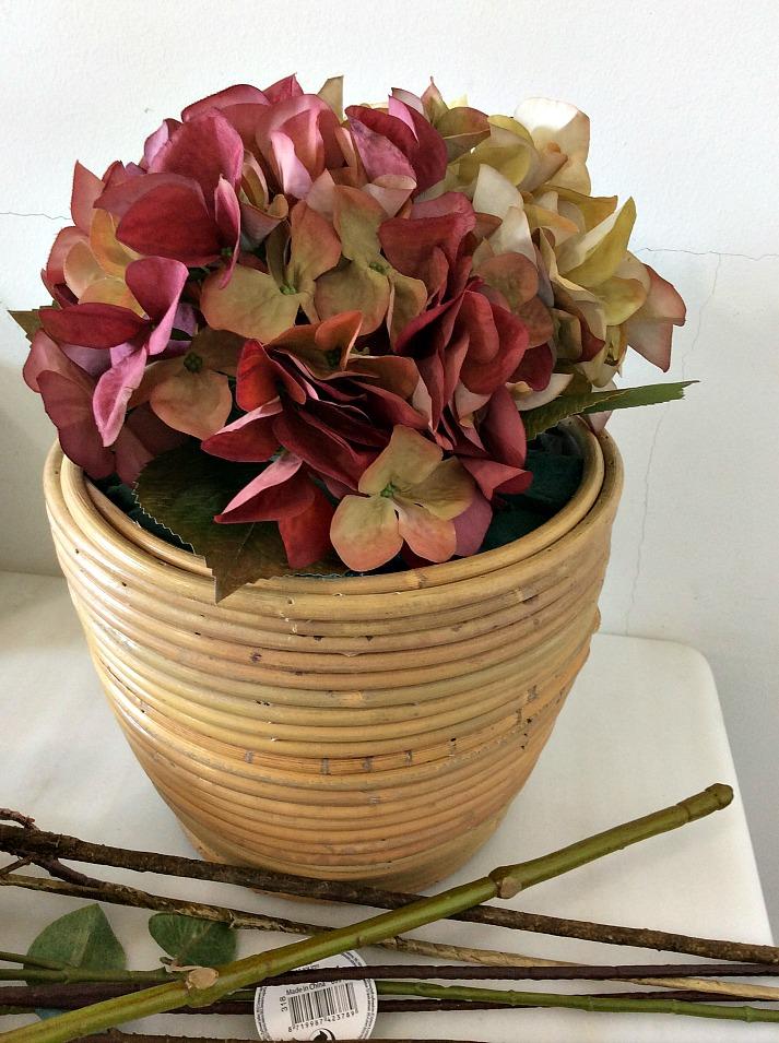 DIY φθινοπωρινή σύνθεση λουλουδιών, ορτανσίες