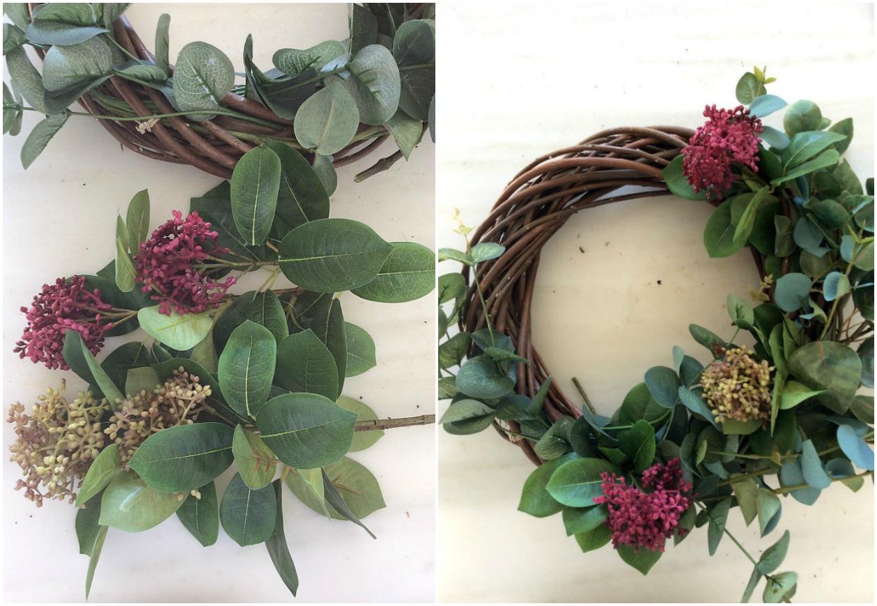 DIY roustic φθινοπωρινό στεφάνι με κλαδιά ευκάλυπτου και λουλούδια