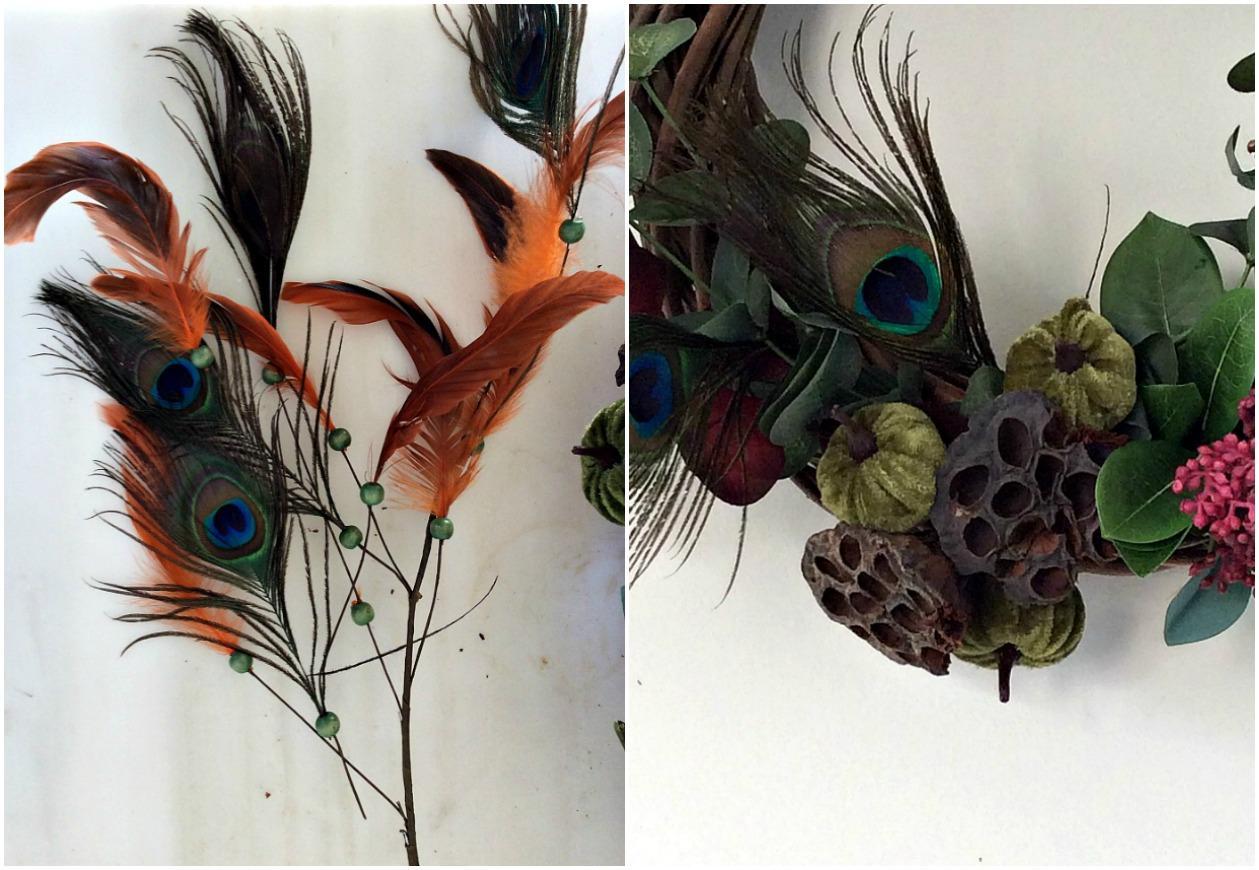 Βελούδινες κολοκύθες και φτερά πάνω σε φθινοπωρινό στεφάνι
