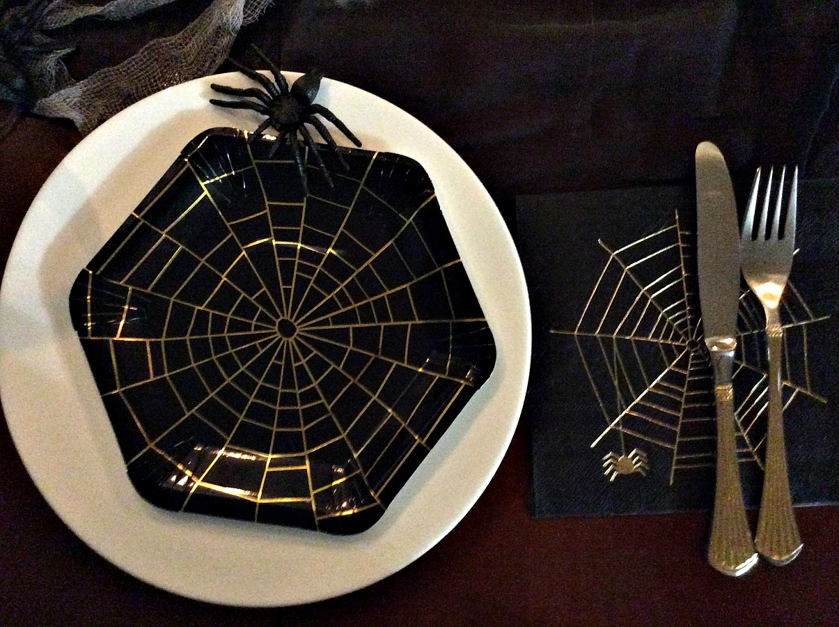 Πιάτο, πετσέτα με ιστό αράχνης