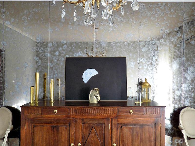 Ανανέωση παλιού καθρέφτη στην τραπεζαρία, πίνακας diy ασημένιο φεγγάρι