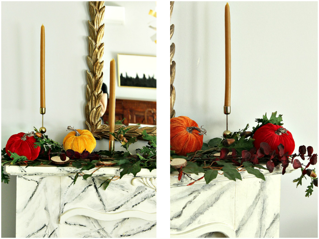 Διακόσμηση τζακιού με κολοκύθες, κλαδιά και κεριά