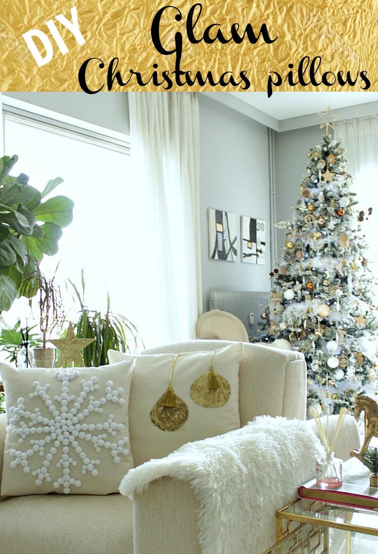 DIY Glam christmas pillows