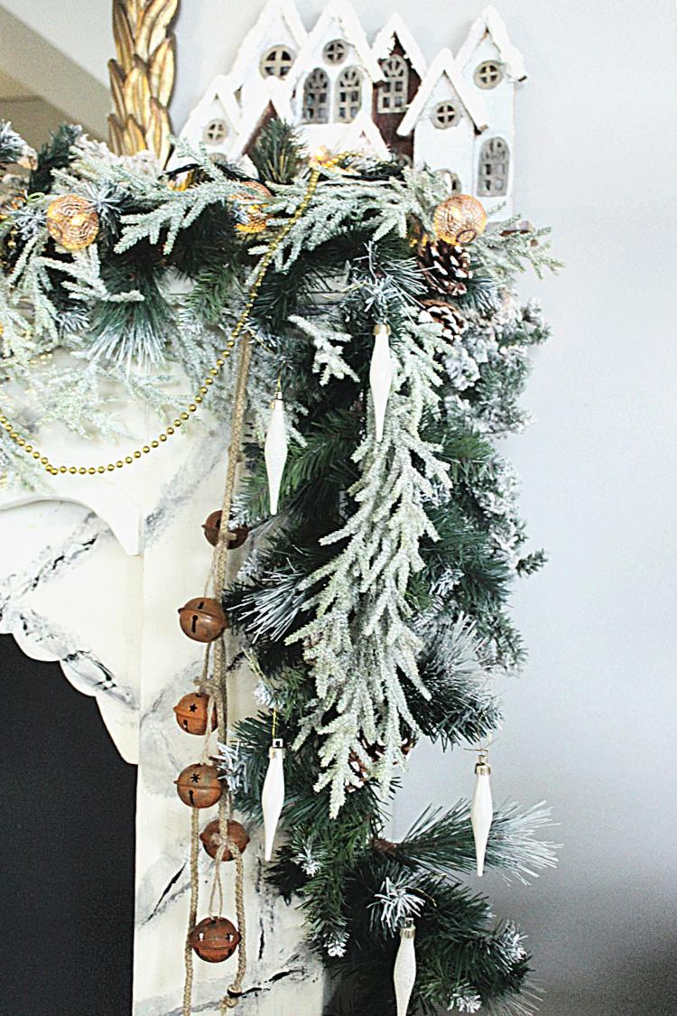 Roustic glam χριστουγεννιάτικη διακόσμηση τζακιού