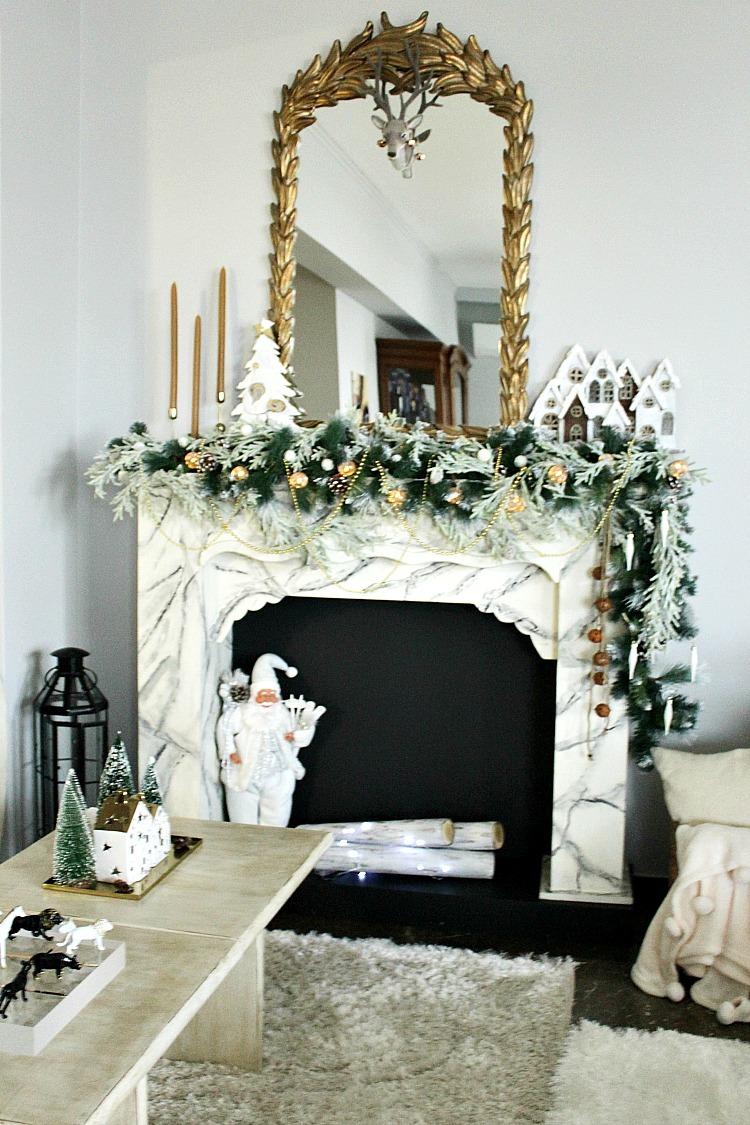 Rousti glam χριστουγεννιάτικη διακόσμηση τζακιού