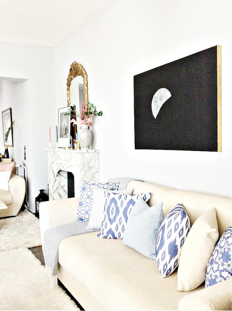 Ανοιξιάτικη διακόσμηση, μαξιλάρια σε τόνους του μπλε