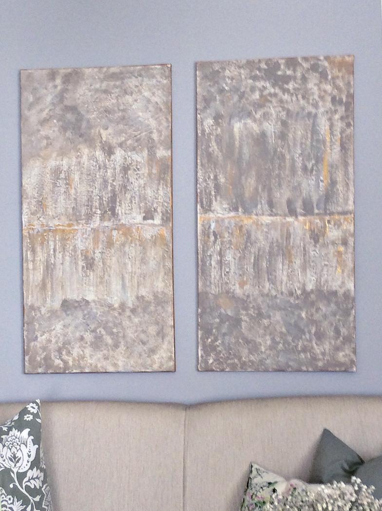 Δίπτυχο καμβάδων αφηρημένη τέχνη με υφή diy