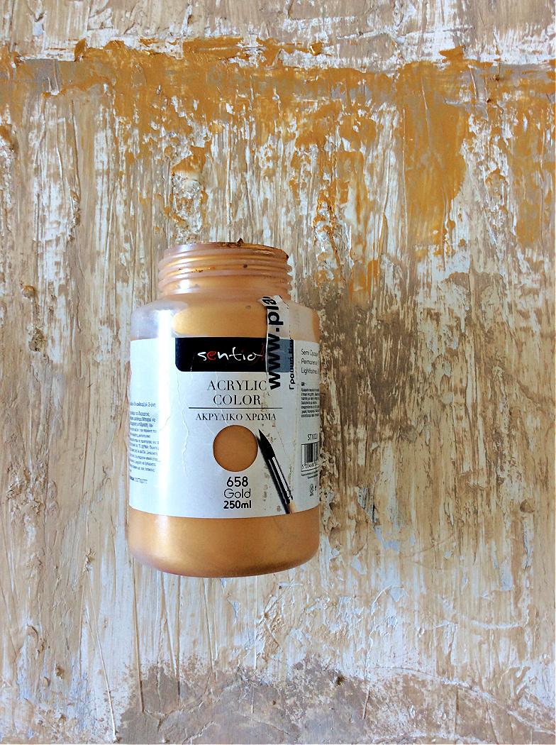 Αφηρημένη τέχνη με υφή diy, χρυσό ακρυλικό χρώμα