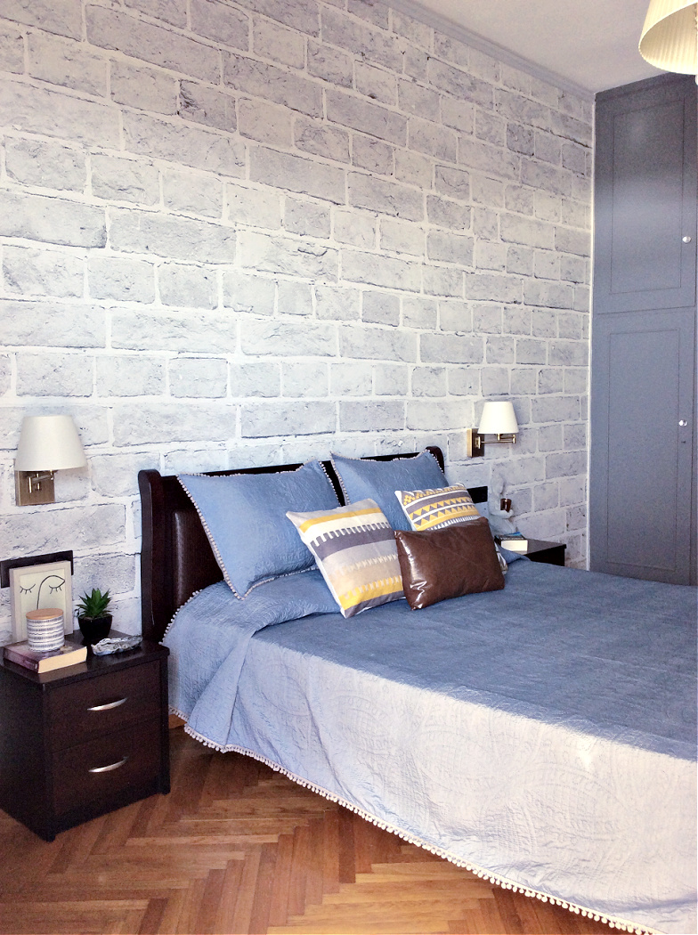 Master bedroom decoration, brick wallpaper, Photowall Sweden