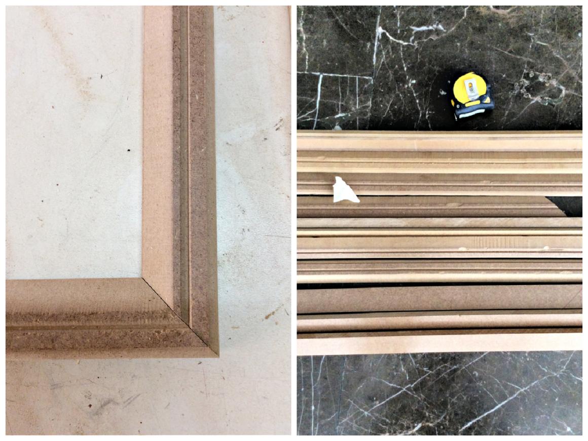 Πηχάκια για διακόσμηση τοίχου στο σαλόνι  με ξύλινα προφίλ