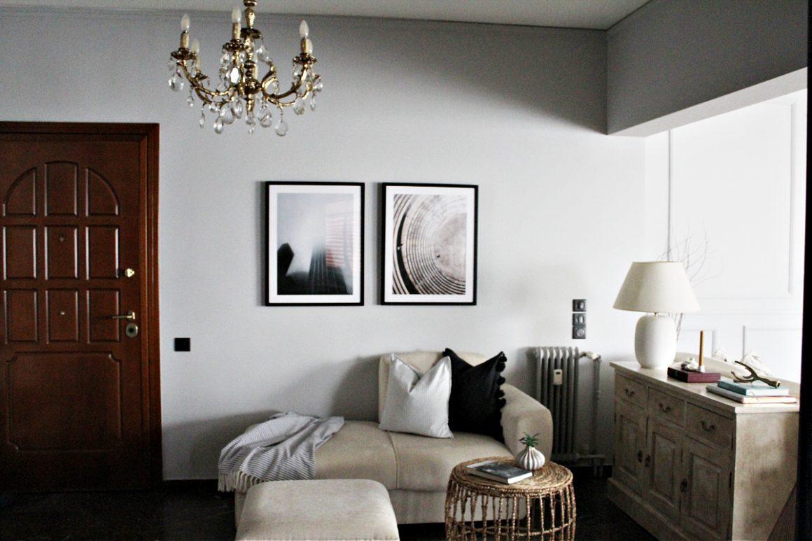 Διακόσμηση τοίχων σαλονιου με art prints από Filotechno